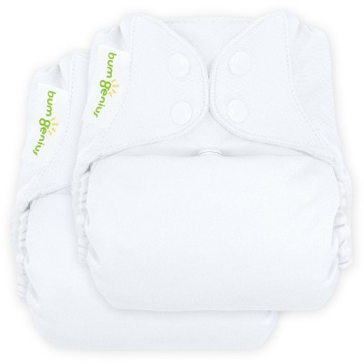 bumGenius Freetime All-in-One Snap Reusable Diaper - White (2pk)