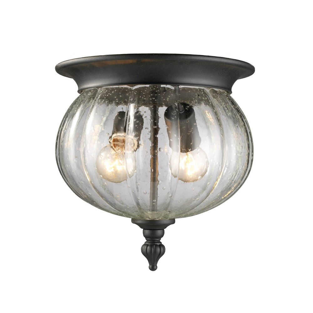 2 Light Outdoor Vintage Flush Mount With Seeded Globe Glass Shade Black Aurora Lighting
