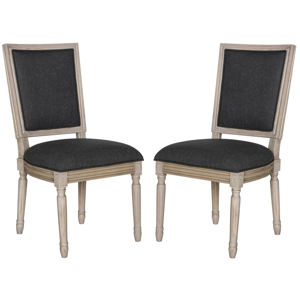 Buchanan Rectangle Side Chair Wood/Charcoal (Grey) (Set of 2) - Safavieh