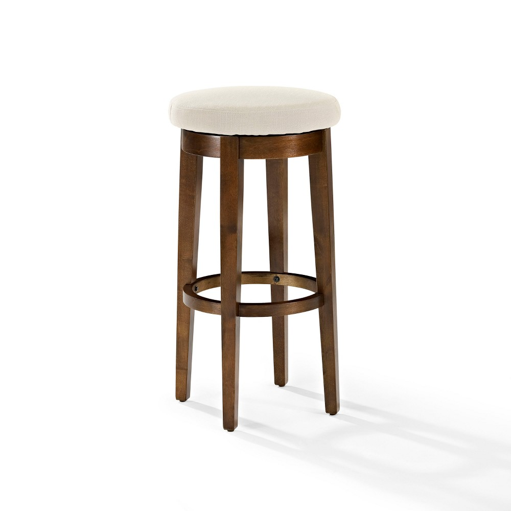 Crosley Set of 2 Mitchell Swivel Bar Stool with Cushion Mahogany (Brown) Black/ Crème