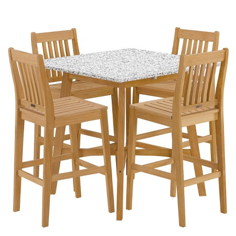 "Wexford - 5pc Patio Dining Set with 42"" Patio Bar Table - Natural Shorea - Lite-Core Ash - Oxford Garden - image 1 of 3"
