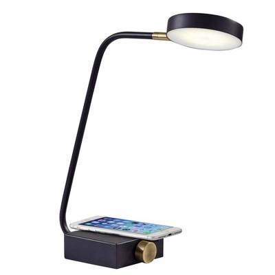 """15.5"""" x 19"""" Conrad Adessocharge Desk Lamp (Includes LED Light Bulb) Matte Black - Adesso"""