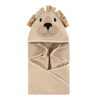 Hudson Baby Infant Cotton Animal Face Hooded Towel, Lion, One Size