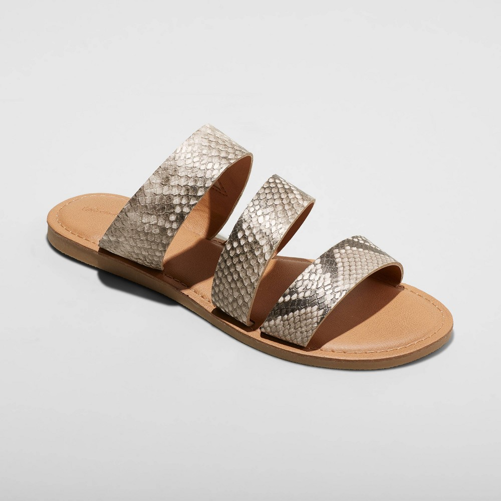 Image of Women's Sammi Faux Leather Slide Sandals - Universal Thread Gray 5