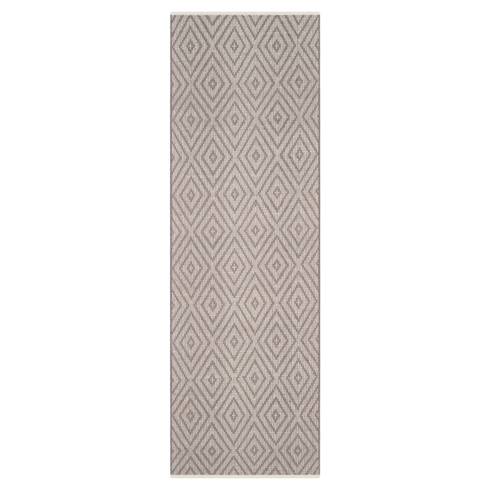 Gray/Ivory Diamond Flatweave Woven Runner 2'3x7' - Safavieh