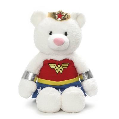 "G by GUND DC Comics Wonder Woman Plush White Teddy Bear 15"" Stuffed Animal"
