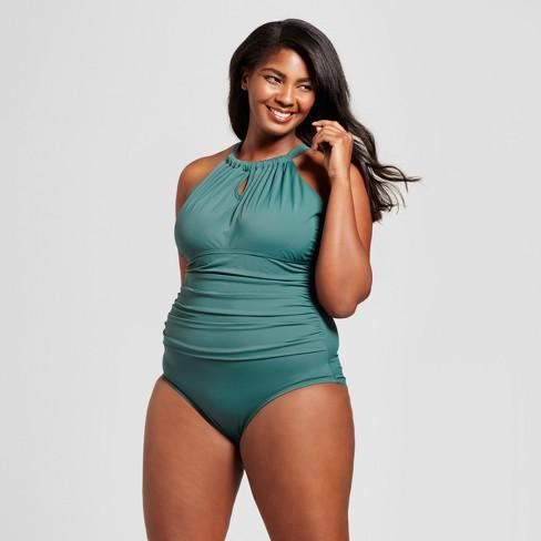 cc25f150b7f42 Women s Plus Size Cross Back Swim Dress - Ava   Viv™ Black White 18W ...