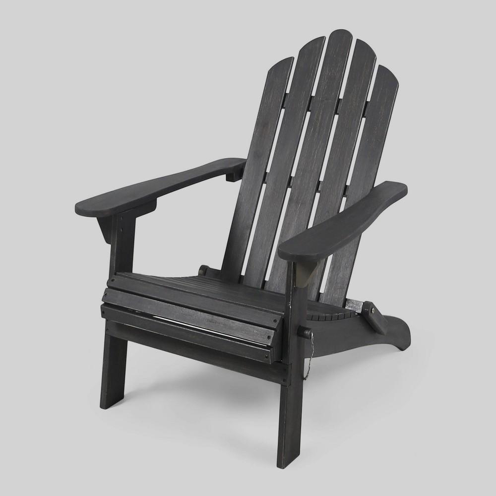 Hollywood Acacia Wood Foldable Patio Adirondack Chair - Dark Gray - Christopher Knight Home