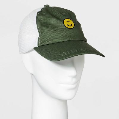 Women's Smiley Face Mesh Trucker Hat - Wild Fable™ Green