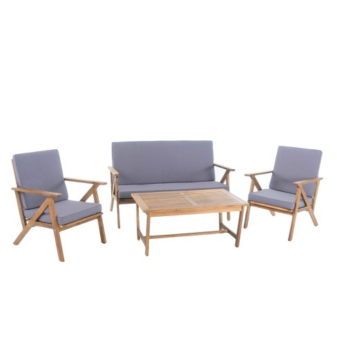 Panama 4pc Acacia Wood Patio Chair Set - Teak Finish - Christopher Knight  Home - Panama 4pc Acacia Wood Patio Chair Set - Teak Finish - Christopher