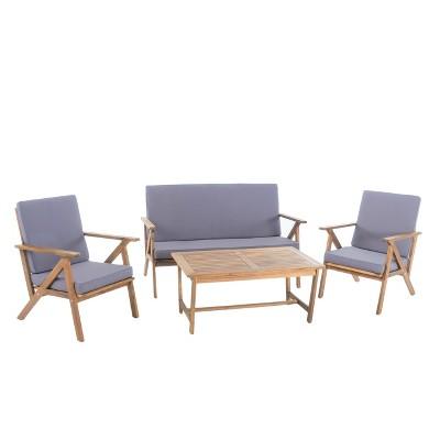 Panama 4pc Acacia Wood Patio Chair Set - Teak Finish - Christopher Knight Home  sc 1 st  Target & Panama 4pc Acacia Wood Patio Chair Set - Teak Finish - Christopher ...