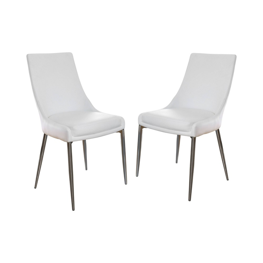 Set of 2 Krupa Contemporary Leatherette Dining Chair Silver/White - ioHOMES