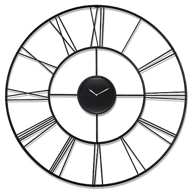 Modern Tower Round Wall Clock Black - Infinity Instruments®