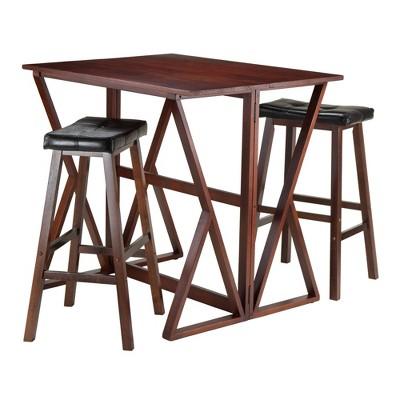"29"" 3pc Harrington Set Drop Leaf Dining Table Set with Cushion Seat Wood/Walnut/Black - Winsome"