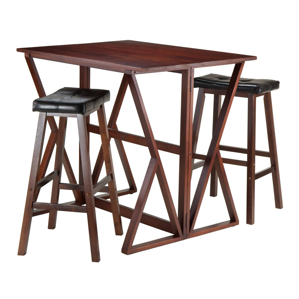 3 Piece Harrington Set Drop Leaf High Table with Bar Stools Cushion Seat Wood/Walnut (Brown)/Black 29 - Winsome