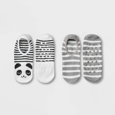 Women's Panda Cozy 2pk Liner Socks - White/Black 4-10
