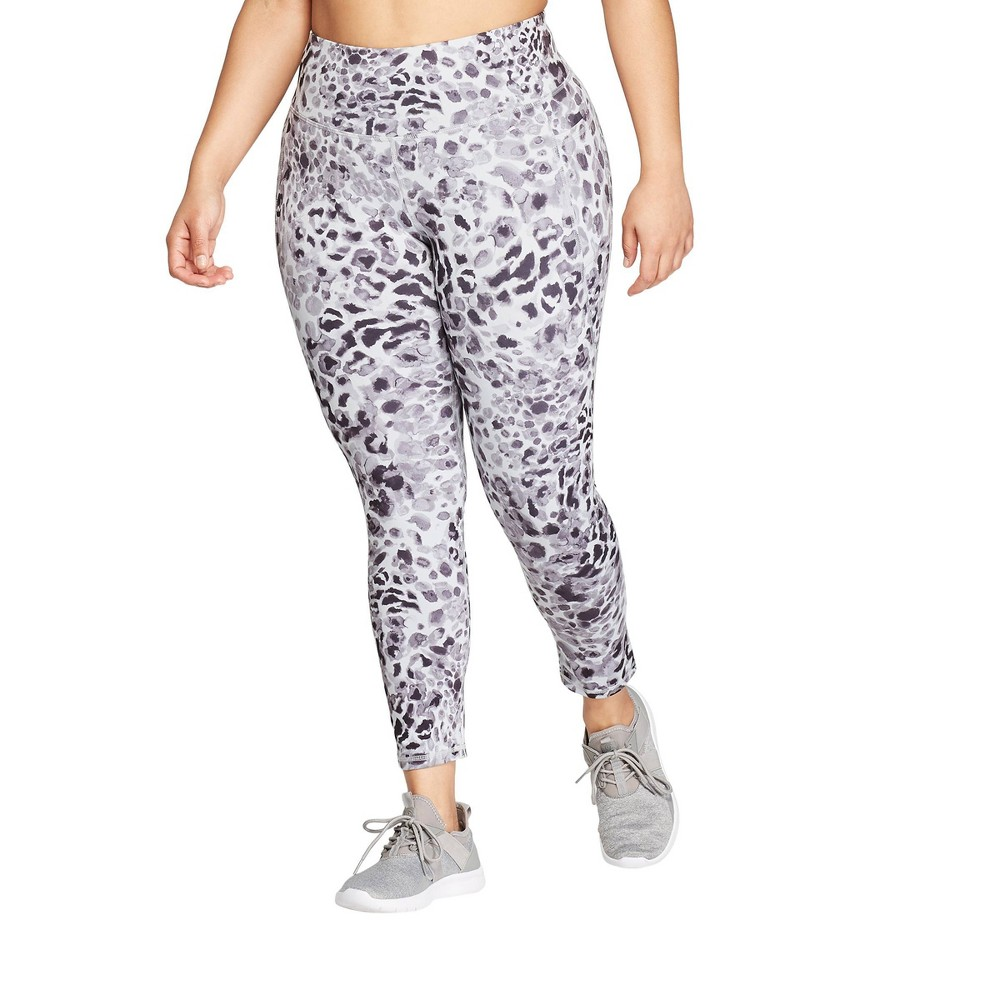 Women's Plus Size Leopard Print Studio Mid-Rise Leggings 25 - C9 Champion Gray 2X