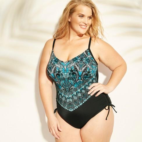2972def937 Women's Plus Size Side Cinch One Piece Swimsuit - Aqua Green® : Target
