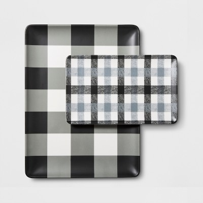 Melamine Plaid Serving Tray Set of 2 - Hearth & Hand™ with Magnolia
