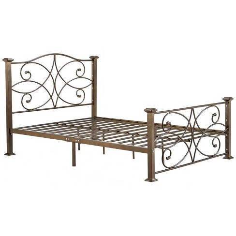 Complete Metal Twin Size Bed in Gold - Hodedah - image 1 of 3