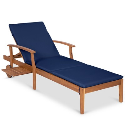 Best Choice Products 79x30in Acacia Wood Outdoor Chaise Lounge Chair w/ Adjustable BackrestTableWheels