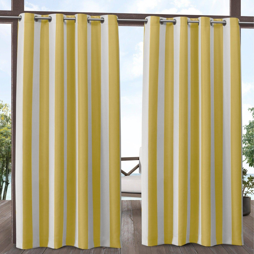 84 34 X54 34 Canopy Striped Grommet Top Light Filtering Window Curtain Panels Yellow White Exclusive Home
