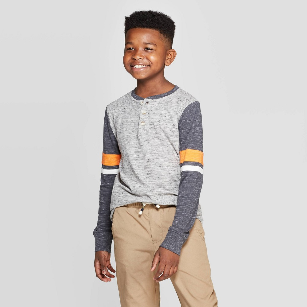 Image of Boys' Long Sleeve Henley Shirt - Cat & Jack Gray/Orange L, Boy's, Size: Large