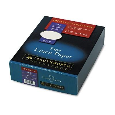 Southworth 25% Cotton Linen Business Paper Gray 24 lbs. 8-1/2 x 11 500/Box FSC 574C