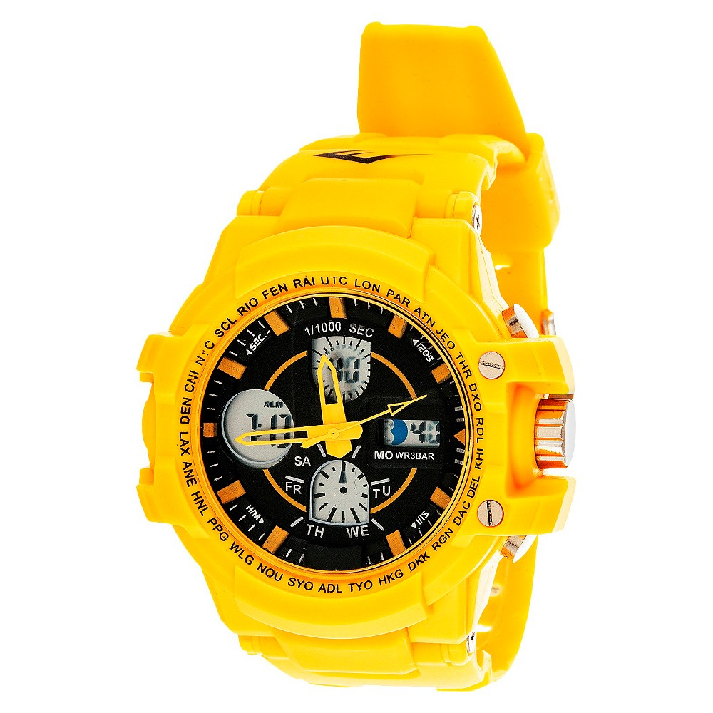 Image of Men's Everlast Analog and Digital Watch Yellow, Men's, Size: Small