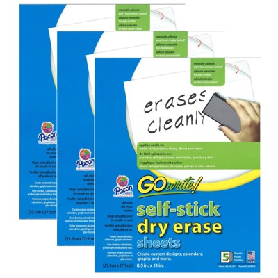 GoWrite! 3pk 5 Sheets/Pk Self-Adhesive Dry Erase Sheets White - Pacon