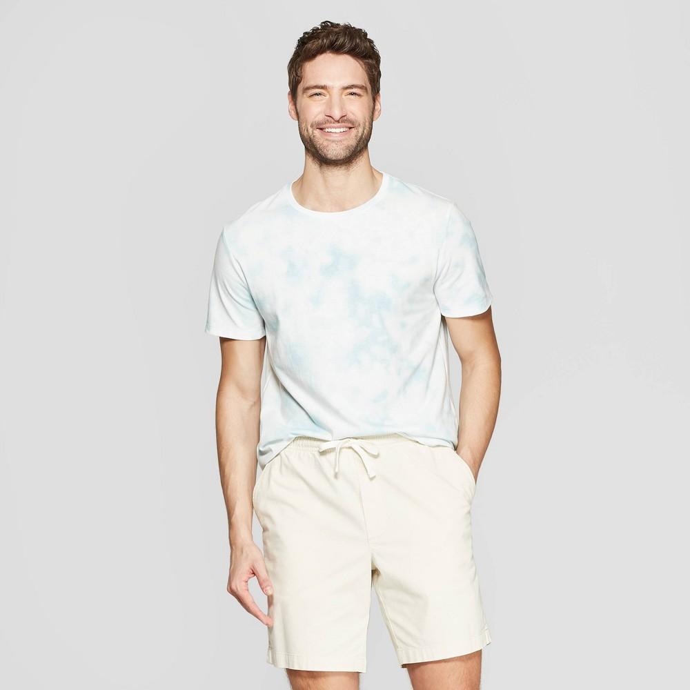 Men's Standard Fit Short Sleeve Novelty Crew T-Shirt - Goodfellow & Co Belize Blue L