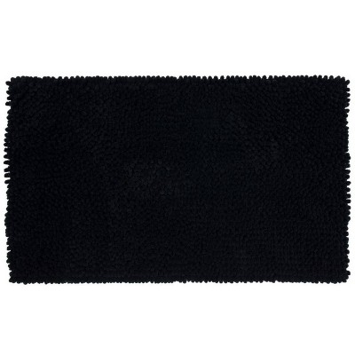 "24""x40"" Chunky Chenille Memory Foam Bath Rug Black - Room Essentials™"