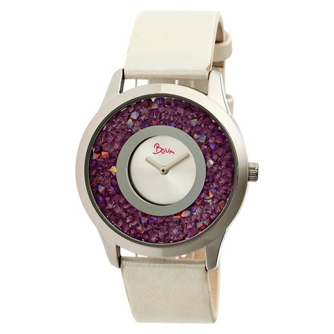 Women's Boum Clique Watch with Custom Stone-Inlaid Outer Dial-Purple - image 1 of 3