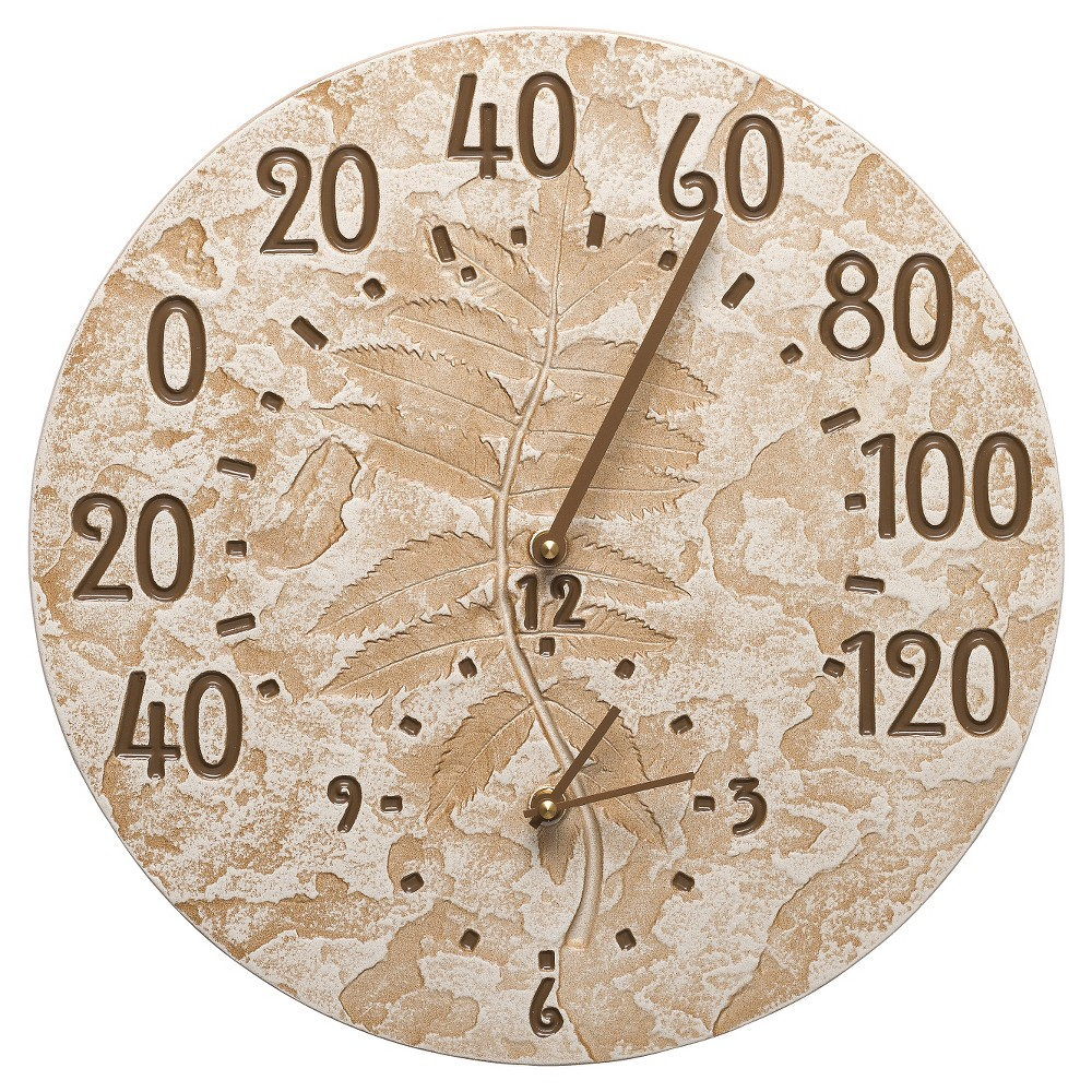 "Image of "".375"""" Aluminum Fossil Sumac Thermometer Clock - Weathered Limestone - Whitehall Products, Green"""