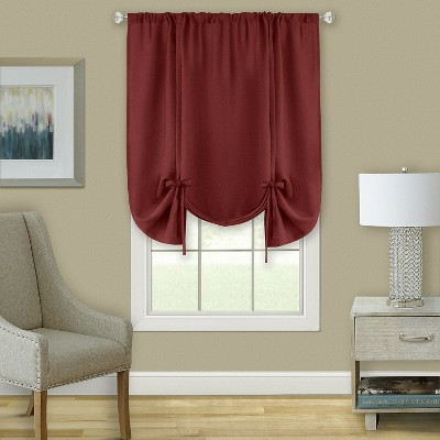 Kate Aurora Shabby Linen Farmhouse Sheer Flax Curtain Tie Up Window Shade