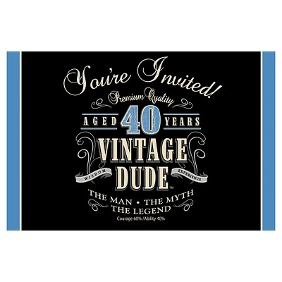 8ct Vintage Dude 40th Birthday Invitations