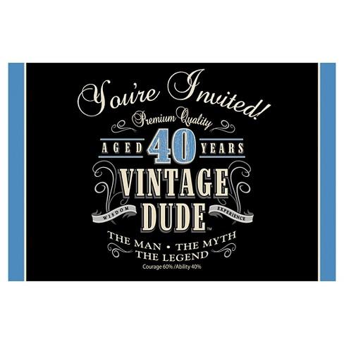 8ct Vintage Dude 40th Birthday Invitations Target