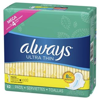 Always Ultra Thin Unscented With wings Regular Maxi Pads - 62ct