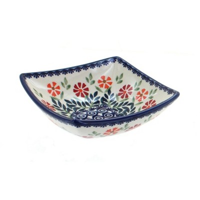 Blue Rose Polish Pottery Garden Bouquet Small Square Bowl