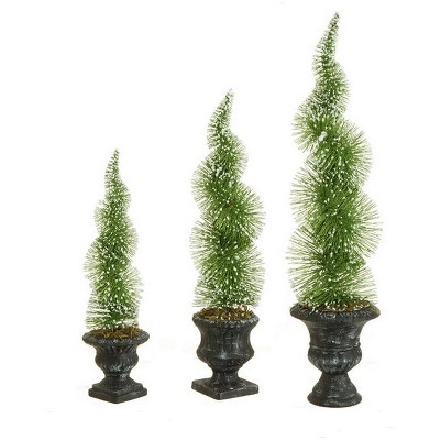 Raz Imports Set of 3 Potted Sparkling Frosted Spiral Topiary Artificial Christmas Tree 1.5' - Unlit