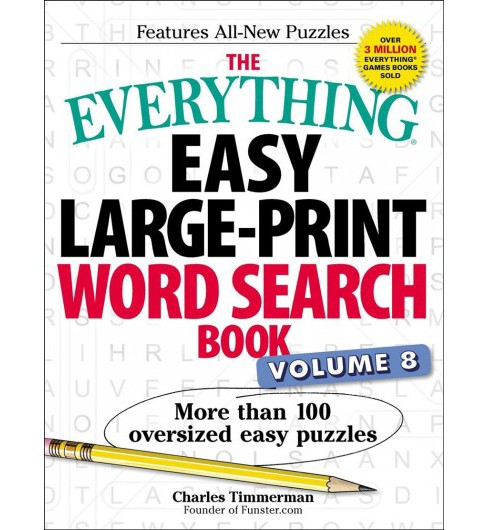 Everything Easy Word Search Book : More Than 100 Oversized Easy Puzzles (Large Print) (Paperback) - image 1 of 1