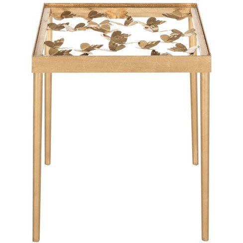 Rosalie Erfly Side Table Antique Gold Leaf Safavieh
