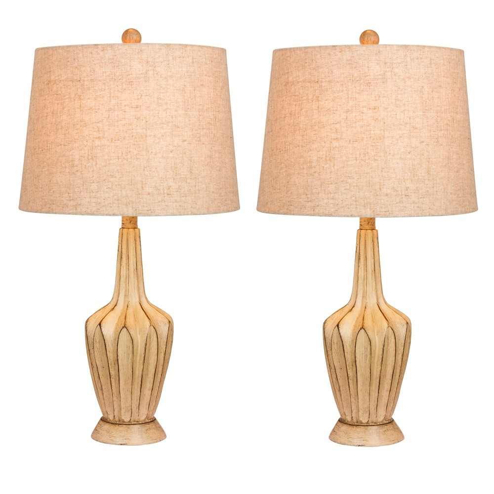 Image of 2pk Paper Lantern Fold Resin Table Lamps Beige - Fangio Lighting