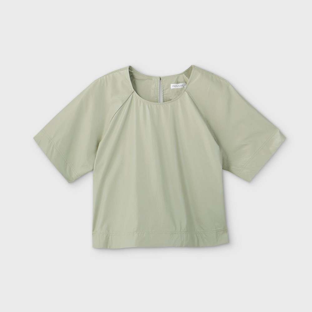 Women's Plus Size Short Sleeve Faux Leather Blouse - Prologue Green 3X was $29.99 now $20.99 (30.0% off)