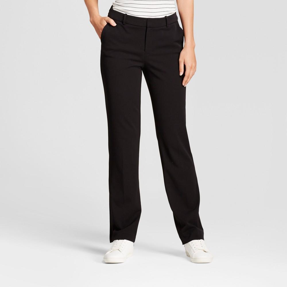 Women's Straight Leg Bi-Stretch Twill Pants - A New Day Black 14L, Size: 14 Long