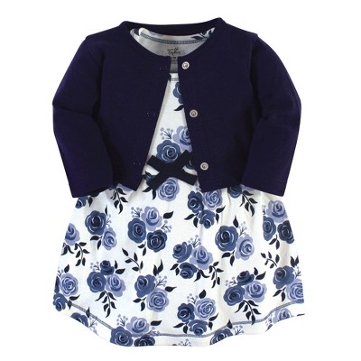 Touched by Nature Baby and Toddler Girl Organic Cotton Dress and Cardigan 2pc Set, Navy Floral