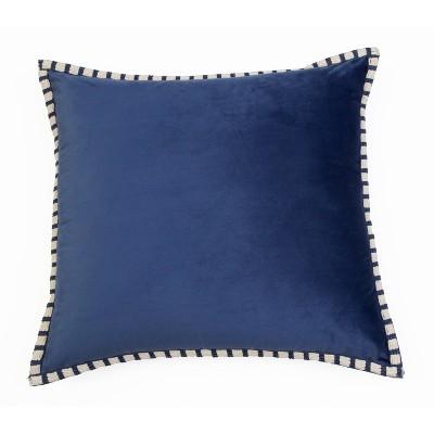 "22""x22"" Dunham Rope Trim Velvet Pillow - Décor Therapy"