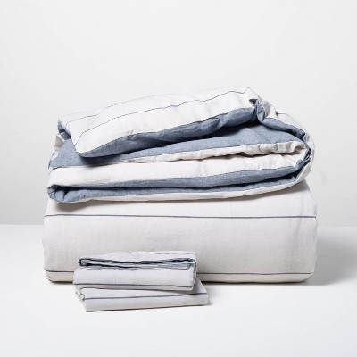 Stripe with Chambray Backing Duvet & Sham Set Faded Blue - Hearth & Hand™ with Magnolia