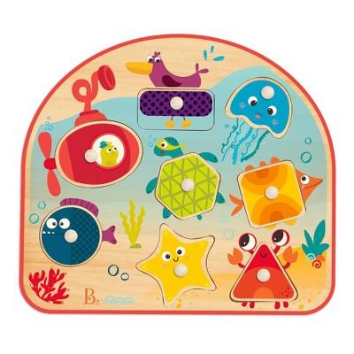 B. toys Wooden Peg Puzzle Sea Treasures 9pc