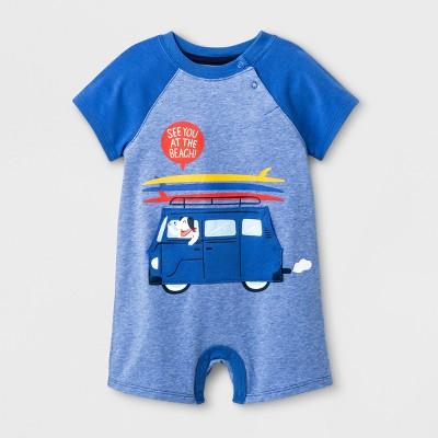 Baby Boys' Short Sleeve Romper - Cat & Jack™ Blue 0-3M